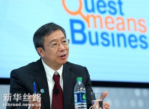 10月6日,中国人民银行副行长易纲在位于美国华盛顿的国际货币基金组织总部出席活动时讲话 记者殷博古摄