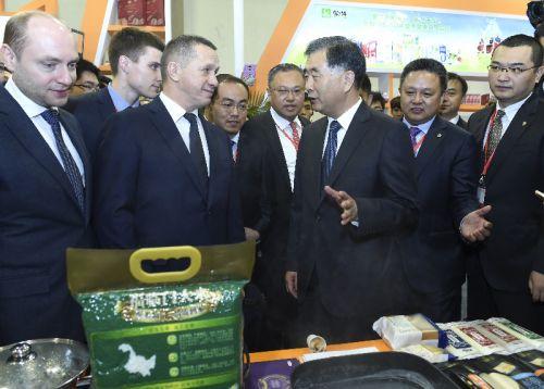 图为:10月20日,汪洋与俄罗斯副总理特鲁特涅夫共同出席首届国际产能合作论坛暨第八届中国对外投资合作洽谈会开幕式