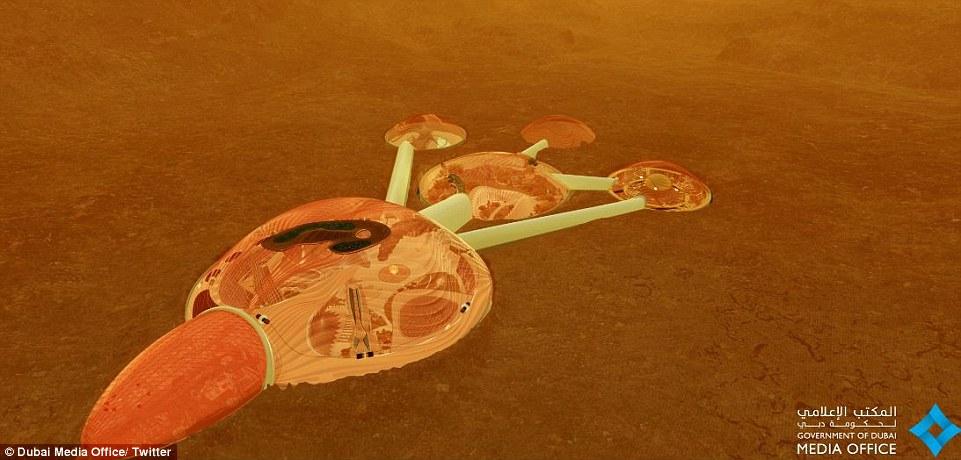 电脑合成图像展现的火星探测器效果图。据报道,该项目将成为未来100年阿联酋培养科技人才国家计划的部分。