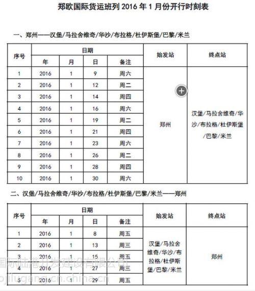 郑欧班列2016年1月份开行时刻表