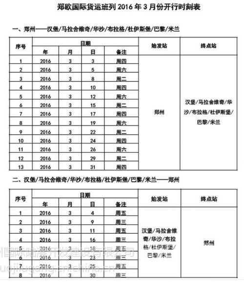 郑欧班列2016年3月份开行时刻表