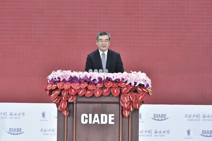 四川副省长朱鹤新在2018中国国际酒业博览会开幕式上致辞 张涛摄
