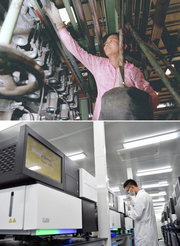 拼版照片:上图为工人在位于深圳大鹏湾的一家染厂工作(资料照片,新华社记者杨绍明摄);下图为2017年7月13日,工作人员在国家基因库操作基因测序仪(新华社记者毛思倩摄)。 建设于大鹏湾畔的深圳国家基因库于2011年由国家发改委等部委批复,2016年9月22日正式开业。