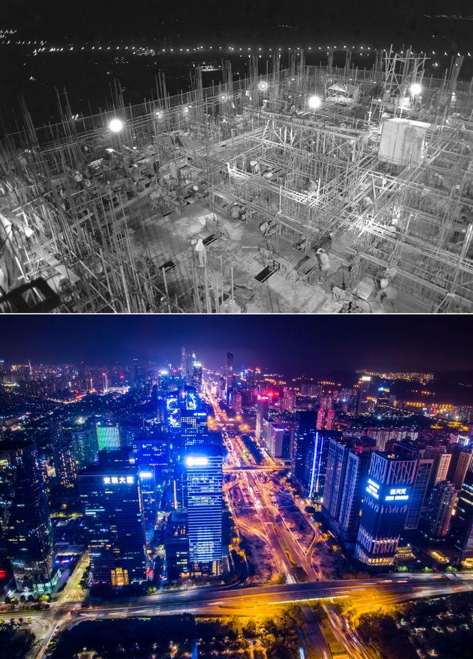 拼版照片:上图为建筑工人在深圳国际贸易中心大厦工地工作(资料照片,新华社记者陈学思摄);下图为2017年2月14日无人机拍摄的深圳夜景(新华社记者毛思倩摄)。