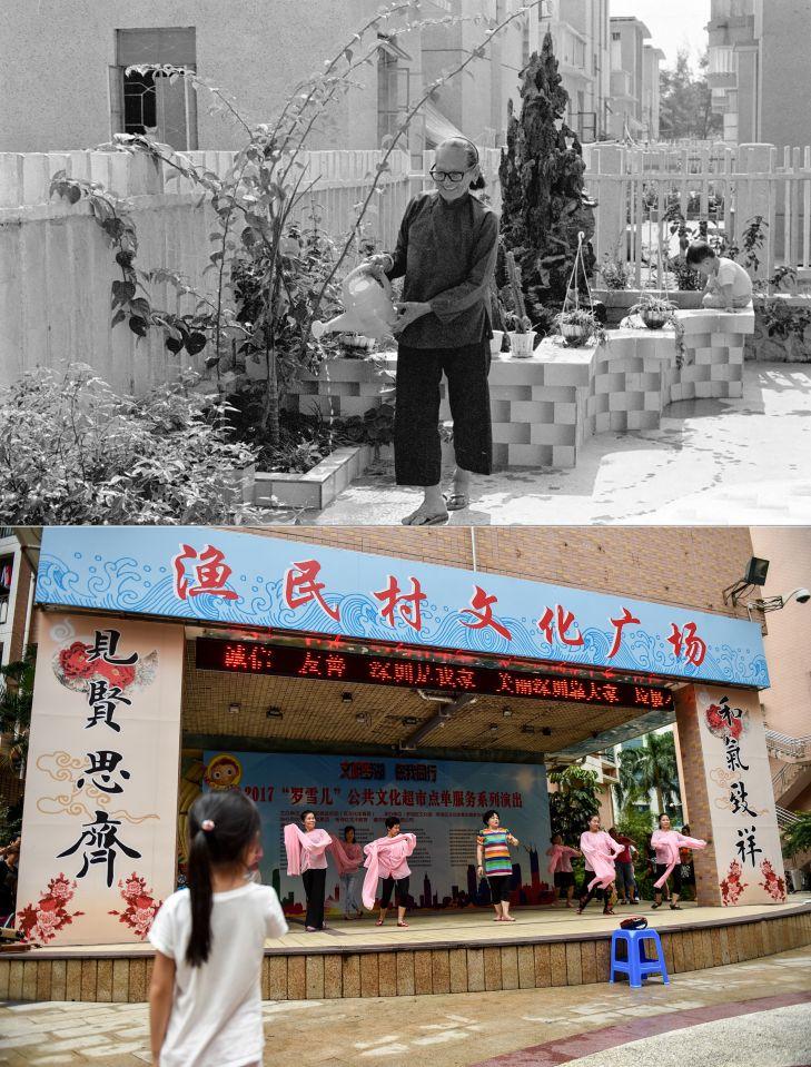 拼版照片:上图为深圳渔民村退休老人在庭院里侍弄花木(资料照片,新华社记者潘家珉摄);下图为2017年9月7日,渔民村的居民在社区文化广场排练舞蹈(新华社记者毛思倩摄)。