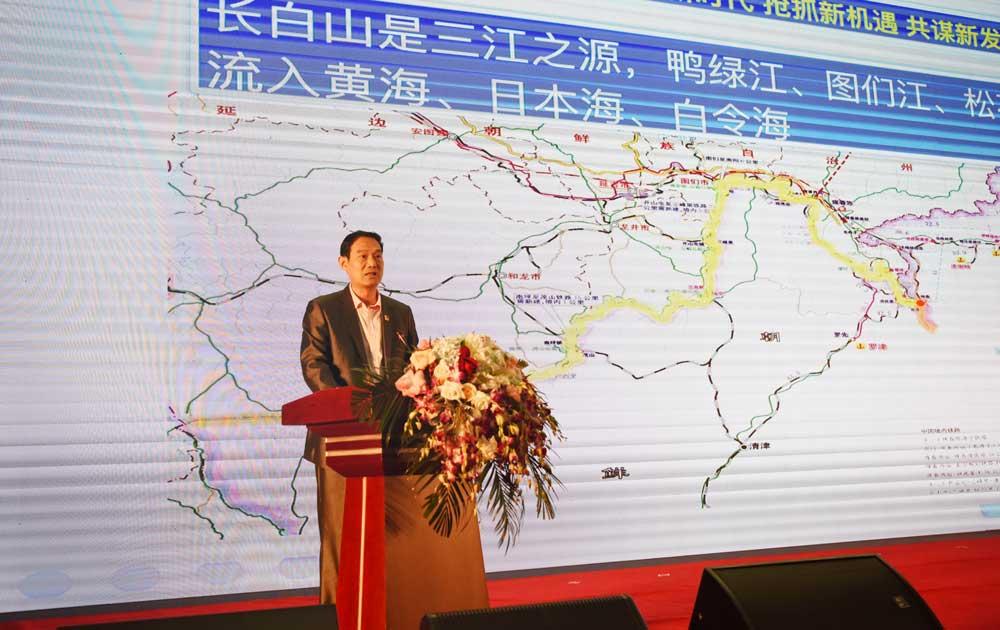 吉林省长吉图办王继才副主任推介长吉图先导区建设(樊世才摄)