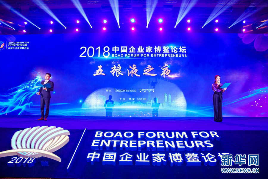 """12月4日晚,2018中国企业家博鳌论坛""""五粮液之夜""""在海南博鳌举行,图为AI互动创意表演《中国梦》。"""