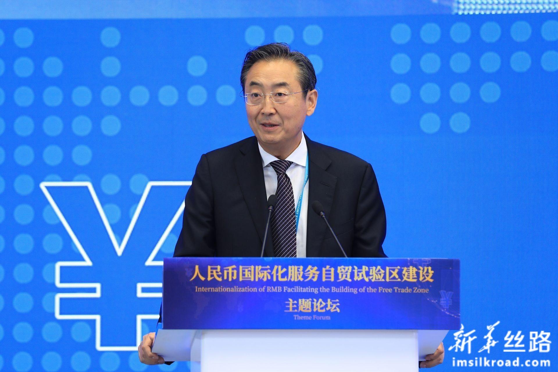 """在""""人民币国际化服务自贸试验区建设""""主题论坛上,中国银行王希全监事长致辞"""