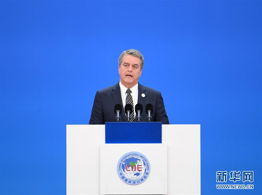 11月5日,第二届中国国际进口博览会在上海开幕。这是世界贸易组织总干事阿泽维多在开幕式上致辞。新华社记者 申宏 摄