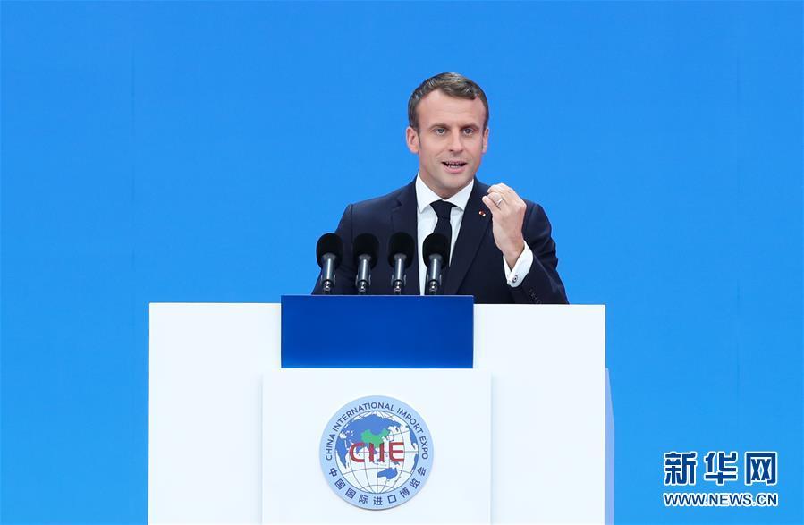 11月5日,第二届中国国际进口博览会在上海开幕。这是法国总统马克龙在开幕式上致辞。新华社记者 丁汀 摄