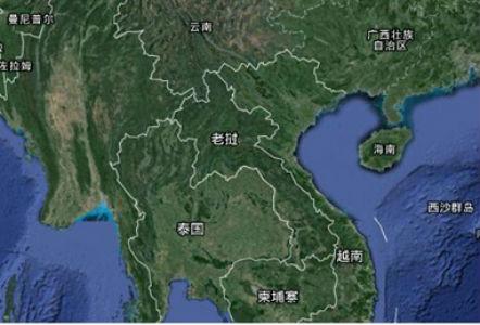 老挝周边卫星图(来源:谷歌地图)
