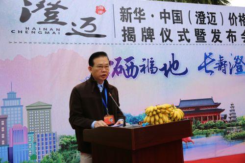 澄迈县县长吉兆民在发布会上致辞。黄峥信 摄