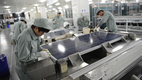 Solar panel factory in Wuxi, China