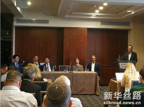 11月13日,以色列卡拉索房地产开发公司首席执行官丹·帕尼斯在签字仪式上讲话。新华社记者陈文仙 摄