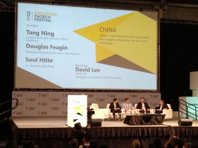 11月14日,宜信CEO唐宁与蚂蚁金服集团国际事业部总裁道格拉斯· 费根、点融网联合创始人苏海德一起在新加坡金融科技大会就中国的金融科技发展展开讨论。