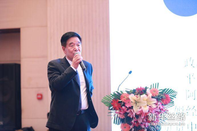 图为宁夏回族自治区政协原副主席谢孟林在推介会演讲。新华社记者周懿摄