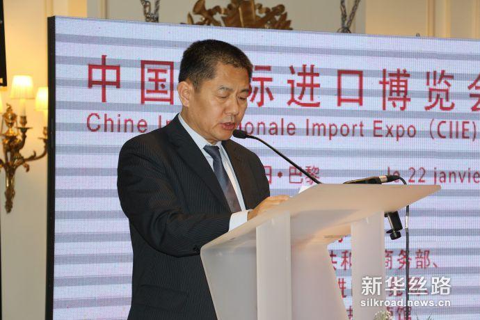 图为中国商务部欧洲司副司长翟谦致辞(记者徐甜 摄)