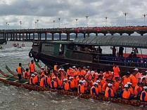 航拍:2018年防城港市海上国际龙舟赛