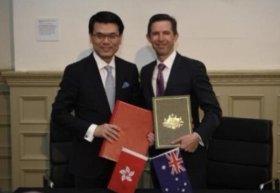 澳大利亚与中国香港26日签署自由贸易协定