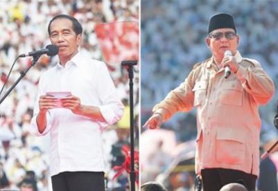 佐科与普拉博沃均宣布在印尼总统选举中获胜