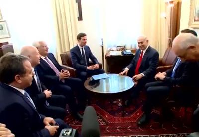 """内塔尼亚胡与库什纳讨论""""世纪协议""""经济方案"""