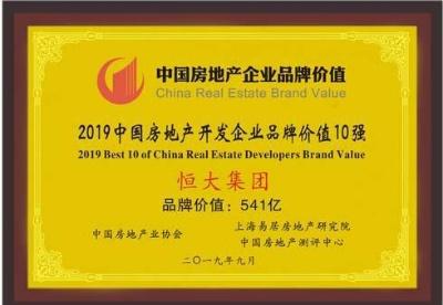 恒大集团蝉联中国房地产开发企业品牌价值10强