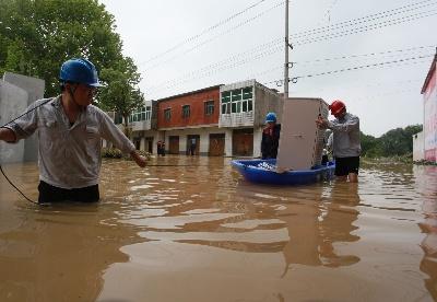 安徽无为市:浸水变电站全站恢复运行