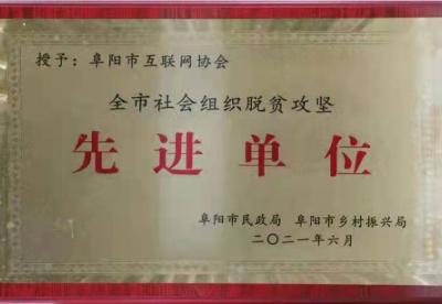 """安徽阜阳市互联网协会助力""""脱贫攻坚""""获表彰"""