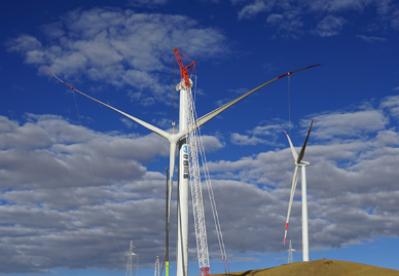 世界海拔最高风电场项目——西藏哲古风电场全部机组吊装完成