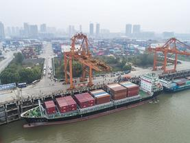 Direct container shipping route opens between Central China's Wuhan and Japan Thu.